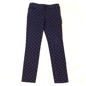 LOFT Navy Pants with Red Pattern
